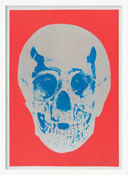 DAMIEN HIRST - Till Death Do Us Part - Coral Red Silver Gloss True Blue Skull