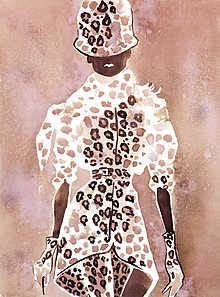 Givenchy Couture leopard suit with a hat